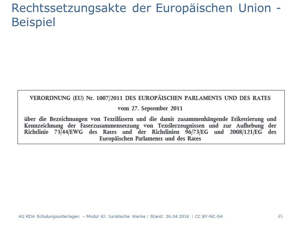Rechtssetzungsakte der Europäischen Union - Beispiel 45 AG RDA Schulungsunterlagen – Modul 6J: Juristische Werke | Stand: 26.04.2016 | CC BY-NC-SA