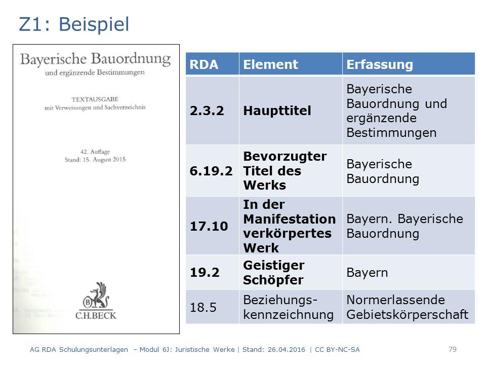 Z1: Beispiel RDAElementErfassung 2.3.2Haupttitel Bayerische Bauordnung und ergänzende Bestimmungen 6.19.2 Bevorzugter Titel des Werks Bayerische Bauordnung 17.10 In der Manifestation verkörpertes Werk Bayern.