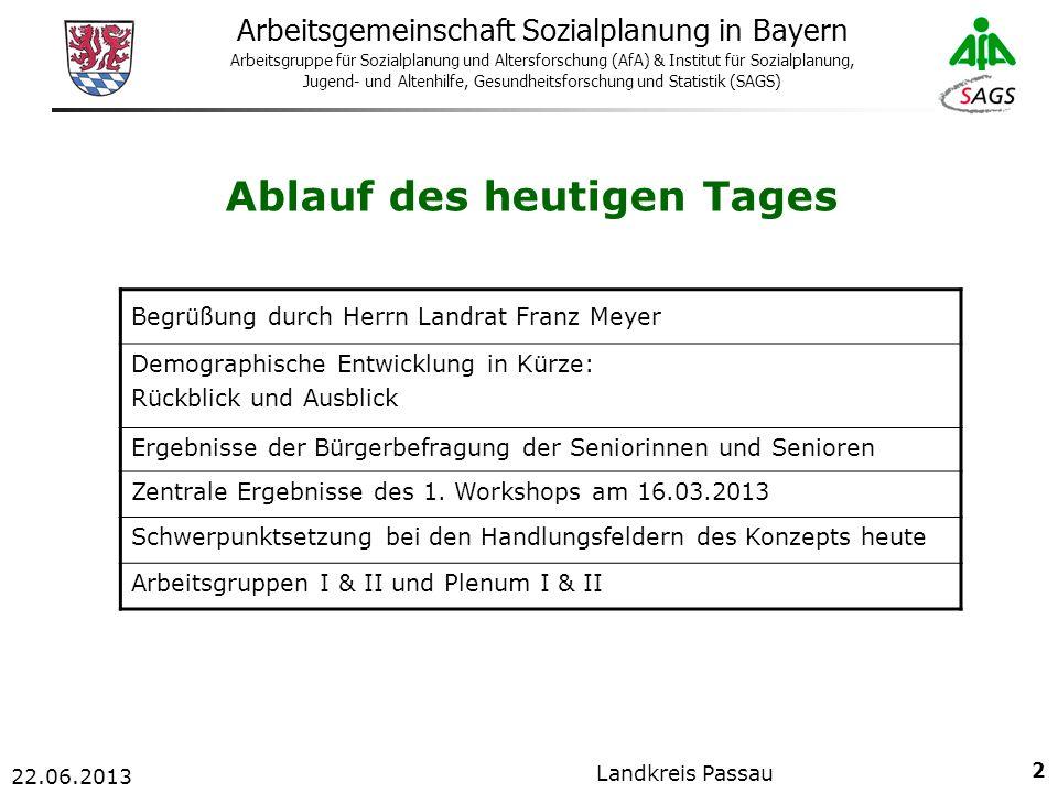 33 Arbeitsgemeinschaft Sozialplanung in Bayern Arbeitsgruppe für Sozialplanung und Altersforschung (AfA) & Institut für Sozialplanung, Jugend- und Altenhilfe, Gesundheitsforschung und Statistik (SAGS) 22.06.2013 Landkreis Passau