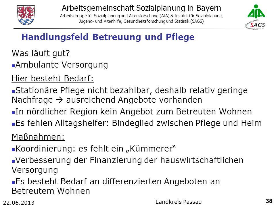 38 Arbeitsgemeinschaft Sozialplanung in Bayern Arbeitsgruppe für Sozialplanung und Altersforschung (AfA) & Institut für Sozialplanung, Jugend- und Altenhilfe, Gesundheitsforschung und Statistik (SAGS) 22.06.2013 Landkreis Passau Handlungsfeld Betreuung und Pflege Was läuft gut.