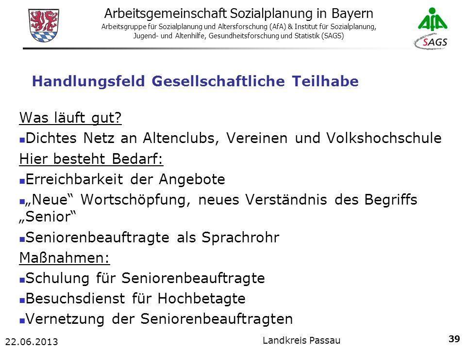 39 Arbeitsgemeinschaft Sozialplanung in Bayern Arbeitsgruppe für Sozialplanung und Altersforschung (AfA) & Institut für Sozialplanung, Jugend- und Altenhilfe, Gesundheitsforschung und Statistik (SAGS) 22.06.2013 Landkreis Passau Handlungsfeld Gesellschaftliche Teilhabe Was läuft gut.