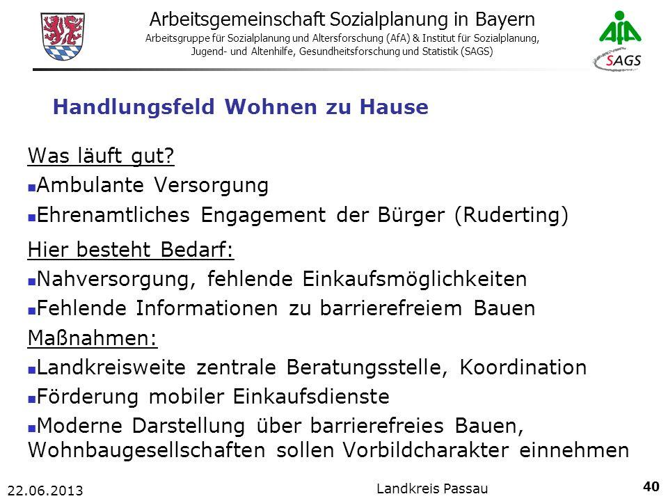 40 Arbeitsgemeinschaft Sozialplanung in Bayern Arbeitsgruppe für Sozialplanung und Altersforschung (AfA) & Institut für Sozialplanung, Jugend- und Altenhilfe, Gesundheitsforschung und Statistik (SAGS) 22.06.2013 Landkreis Passau Handlungsfeld Wohnen zu Hause Was läuft gut.