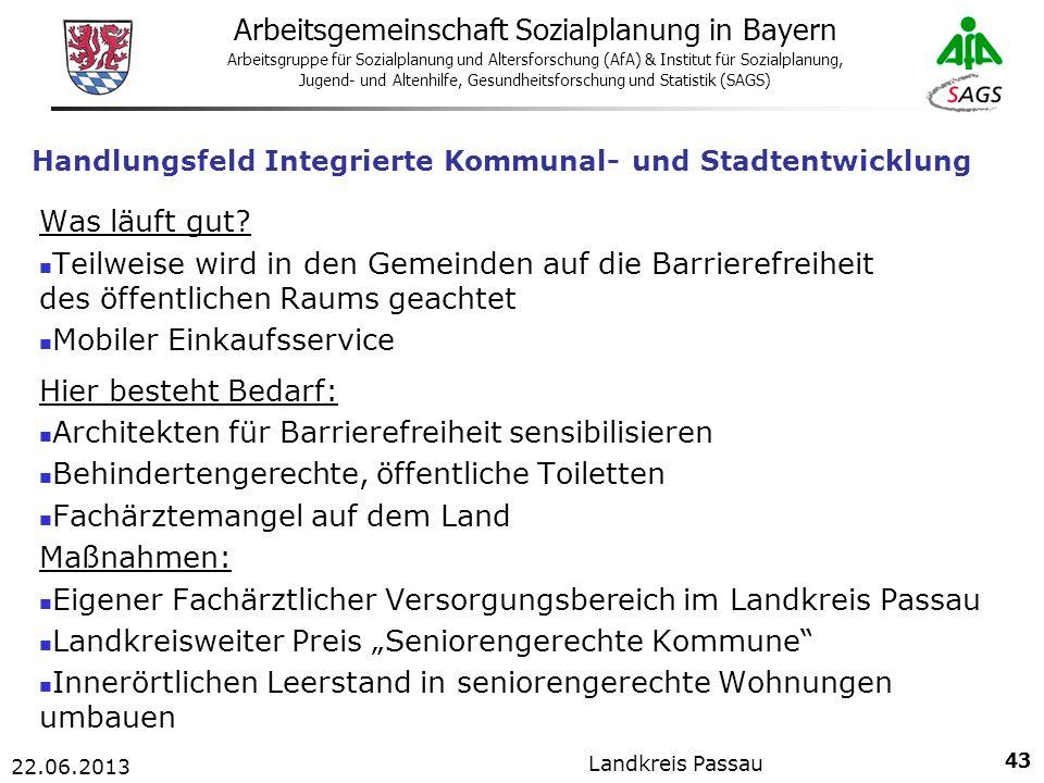 43 Arbeitsgemeinschaft Sozialplanung in Bayern Arbeitsgruppe für Sozialplanung und Altersforschung (AfA) & Institut für Sozialplanung, Jugend- und Altenhilfe, Gesundheitsforschung und Statistik (SAGS) 22.06.2013 Landkreis Passau Handlungsfeld Integrierte Kommunal- und Stadtentwicklung Was läuft gut.