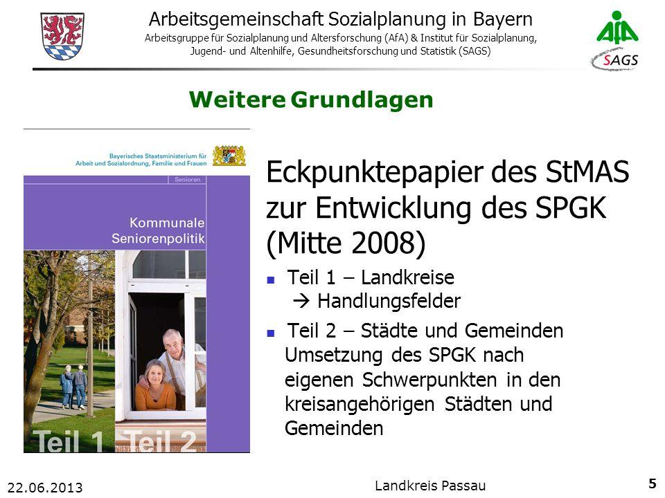 26 Arbeitsgemeinschaft Sozialplanung in Bayern Arbeitsgruppe für Sozialplanung und Altersforschung (AfA) & Institut für Sozialplanung, Jugend- und Altenhilfe, Gesundheitsforschung und Statistik (SAGS) 22.06.2013 Landkreis Passau