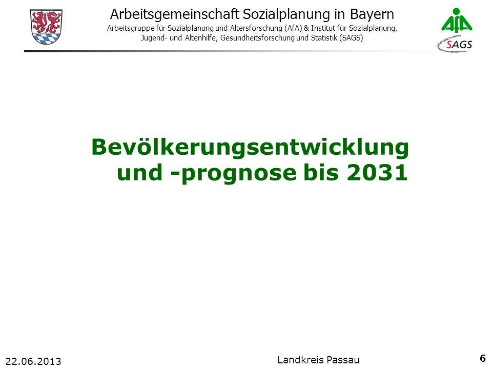 17 Arbeitsgemeinschaft Sozialplanung in Bayern Arbeitsgruppe für Sozialplanung und Altersforschung (AfA) & Institut für Sozialplanung, Jugend- und Altenhilfe, Gesundheitsforschung und Statistik (SAGS) 22.06.2013 Landkreis Passau
