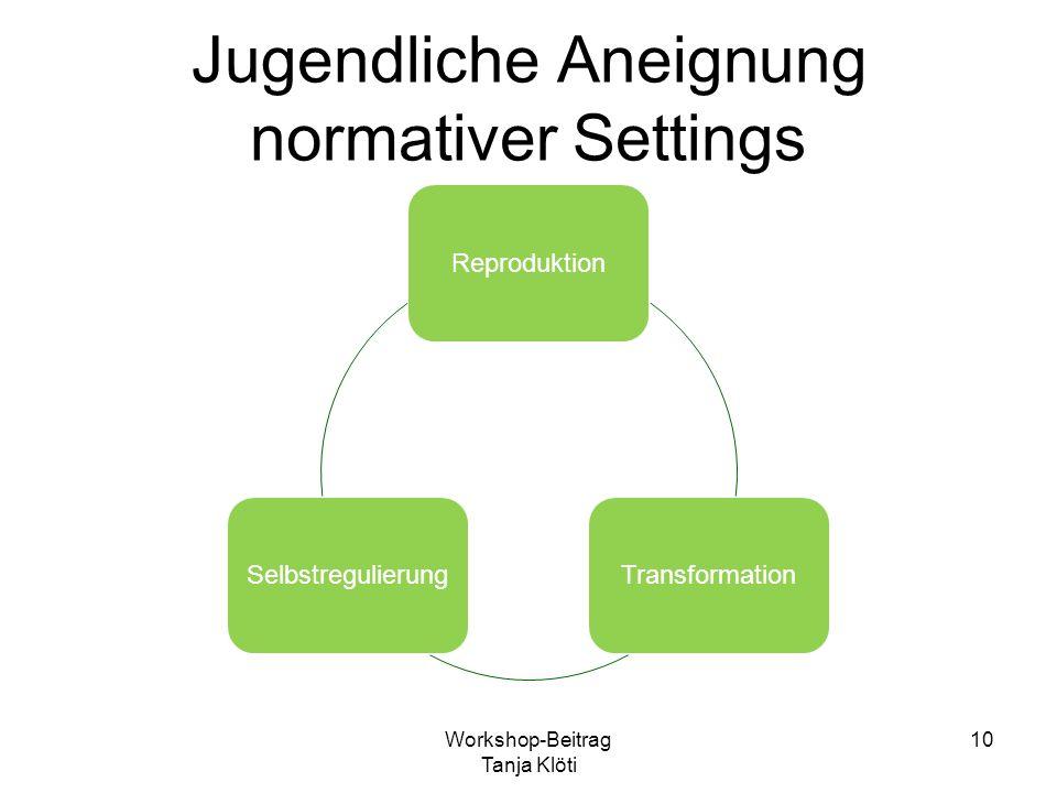 Jugendliche Aneignung normativer Settings ReproduktionTransformationSelbstregulierung Workshop-Beitrag Tanja Klöti 10