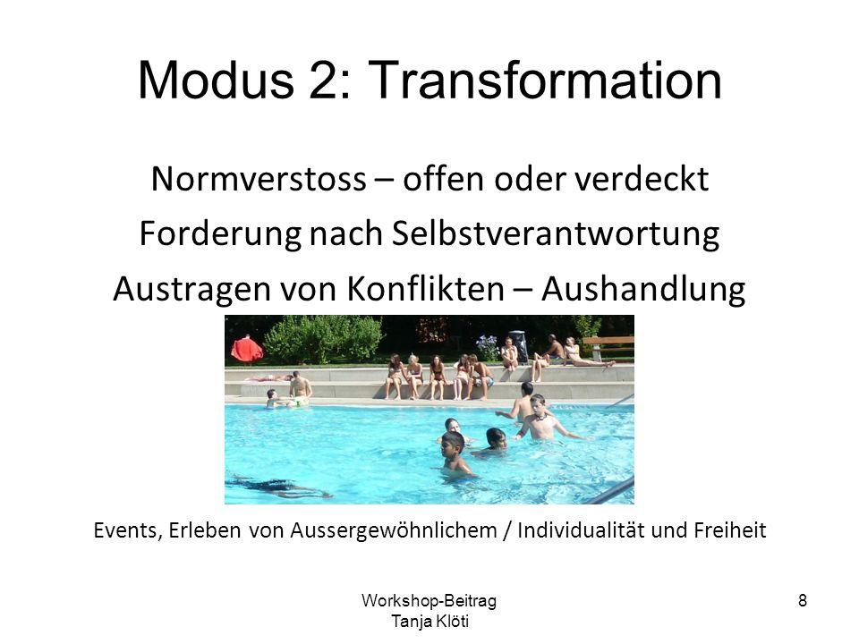 Modus 2: Transformation Normverstoss – offen oder verdeckt Forderung nach Selbstverantwortung Austragen von Konflikten – Aushandlung Events, Erleben v