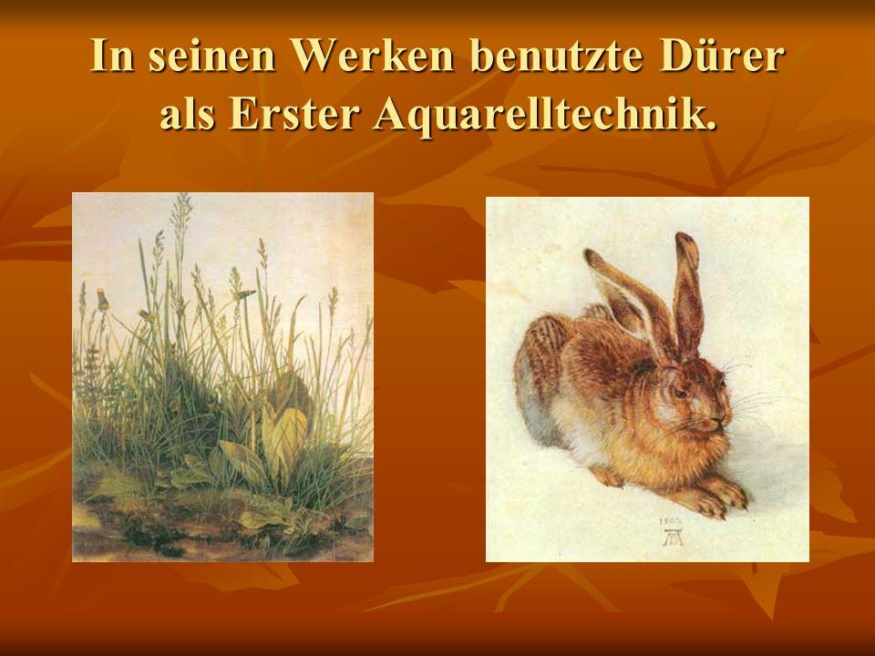 In seinen Werken benutzte Dürer als Erster Aquarelltechnik.