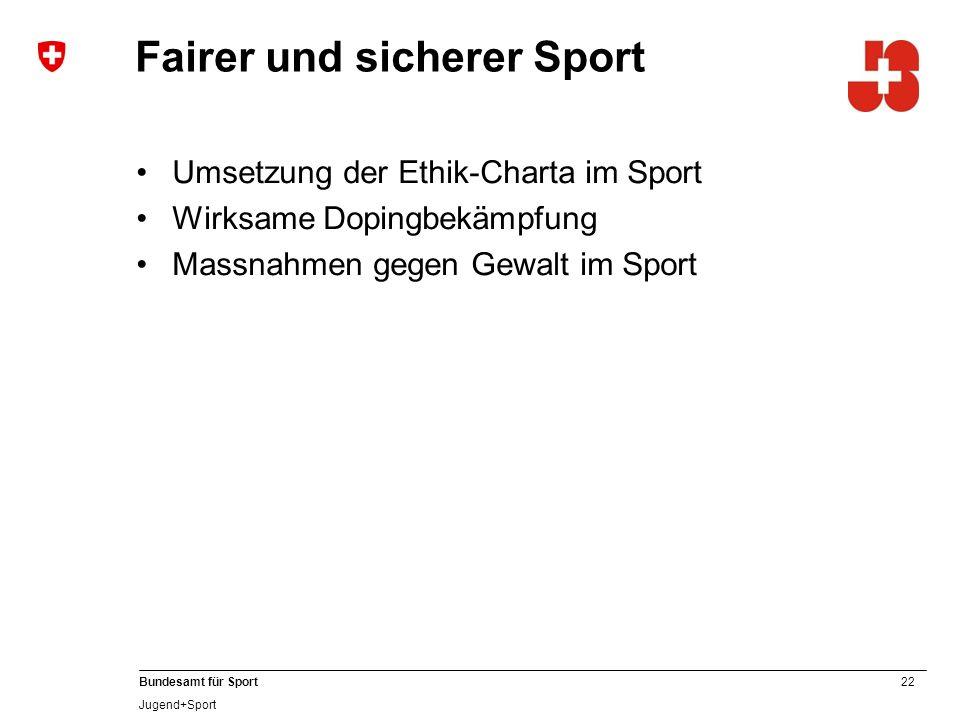 22 Bundesamt für Sport Jugend+Sport Fairer und sicherer Sport Umsetzung der Ethik-Charta im Sport Wirksame Dopingbekämpfung Massnahmen gegen Gewalt im Sport