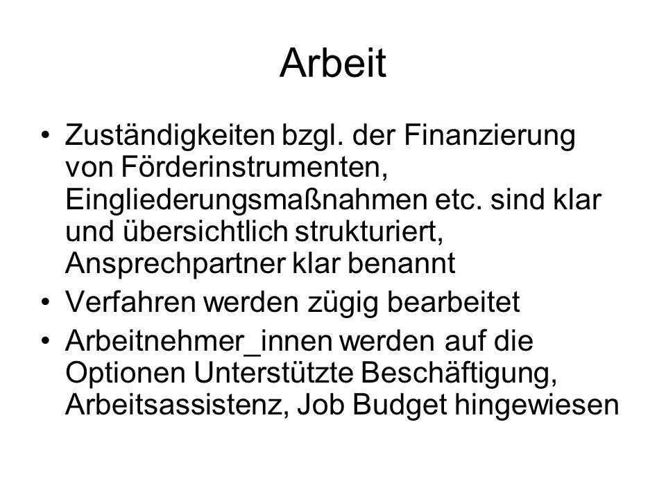 Arbeit Zuständigkeiten bzgl. der Finanzierung von Förderinstrumenten, Eingliederungsmaßnahmen etc.