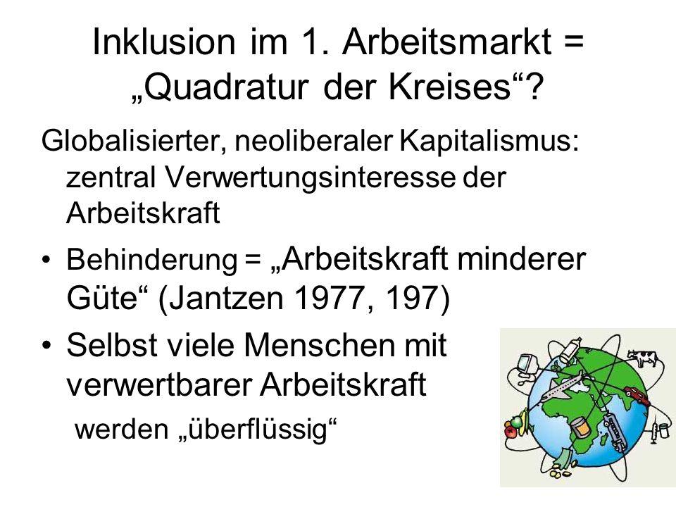 """Inklusion im 1. Arbeitsmarkt = """"Quadratur der Kreises ."""