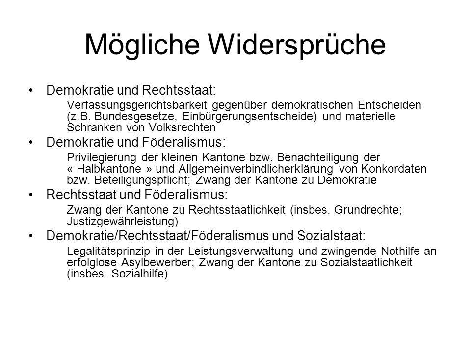 Mögliche Widersprüche Demokratie und Rechtsstaat: Verfassungsgerichtsbarkeit gegenüber demokratischen Entscheiden (z.B.