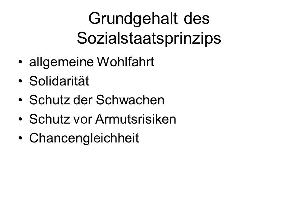 Grundgehalt des Sozialstaatsprinzips allgemeine Wohlfahrt Solidarität Schutz der Schwachen Schutz vor Armutsrisiken Chancengleichheit