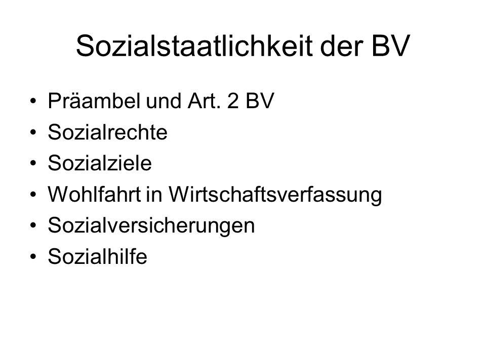 Sozialstaatlichkeit der BV Präambel und Art.