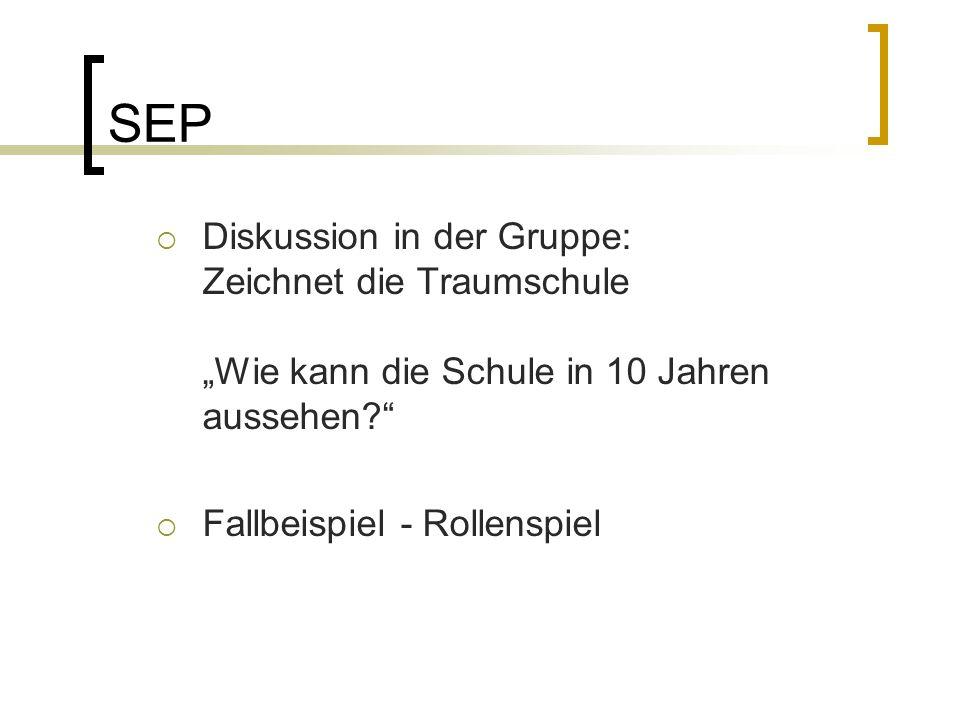 """SEP  Diskussion in der Gruppe: Zeichnet die Traumschule """"Wie kann die Schule in 10 Jahren aussehen  Fallbeispiel - Rollenspiel"""