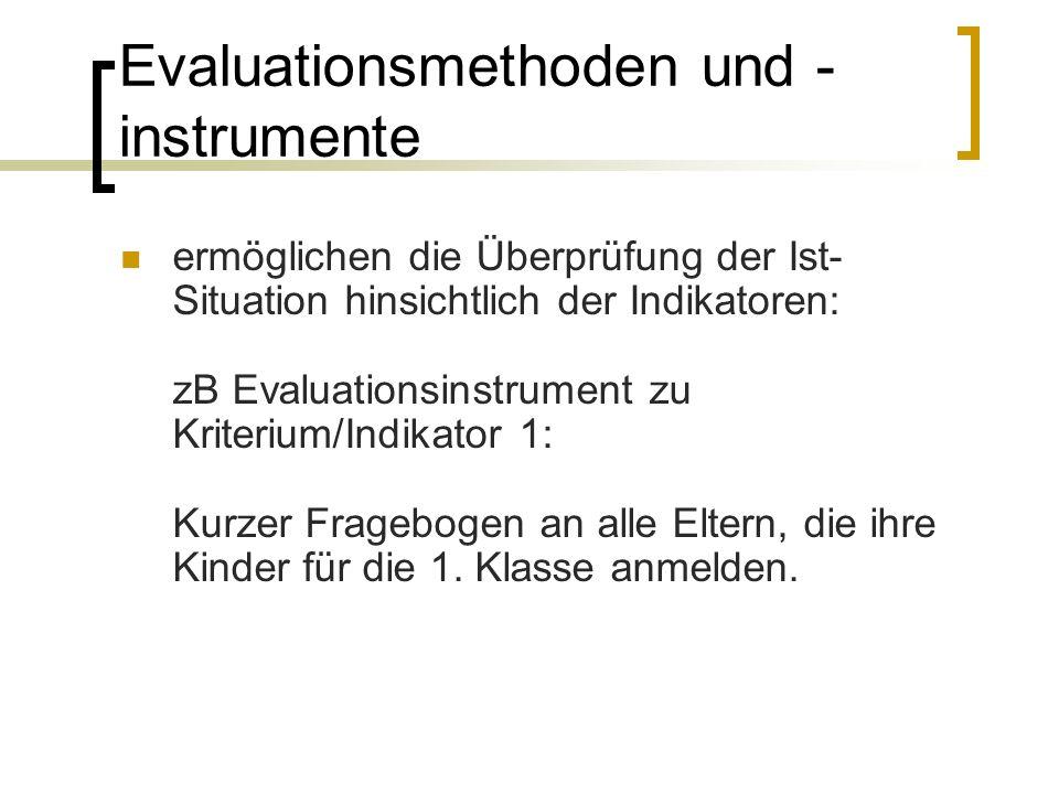 Evaluationsmethoden und - instrumente ermöglichen die Überprüfung der Ist- Situation hinsichtlich der Indikatoren: zB Evaluationsinstrument zu Kriterium/Indikator 1: Kurzer Fragebogen an alle Eltern, die ihre Kinder für die 1.