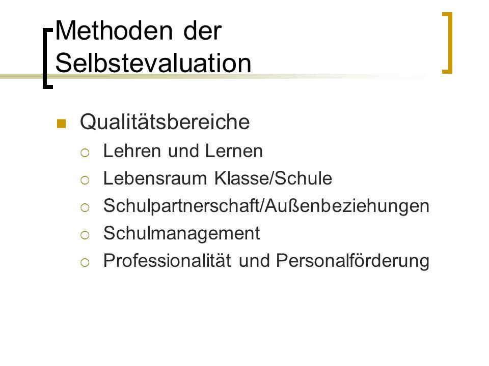 Methoden der Selbstevaluation Qualitätsbereiche  Lehren und Lernen  Lebensraum Klasse/Schule  Schulpartnerschaft/Außenbeziehungen  Schulmanagement  Professionalität und Personalförderung