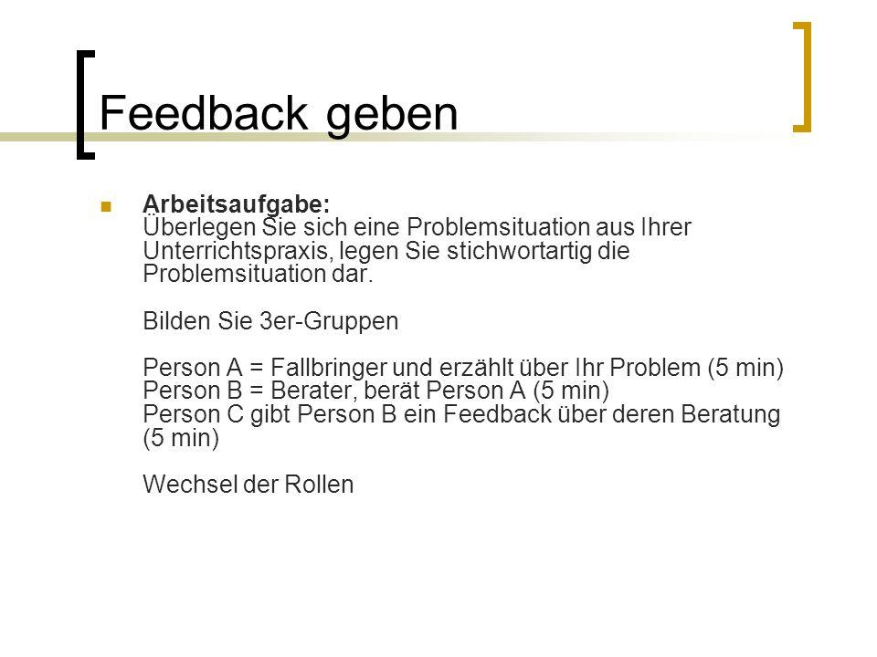 Feedback geben Arbeitsaufgabe: Überlegen Sie sich eine Problemsituation aus Ihrer Unterrichtspraxis, legen Sie stichwortartig die Problemsituation dar.