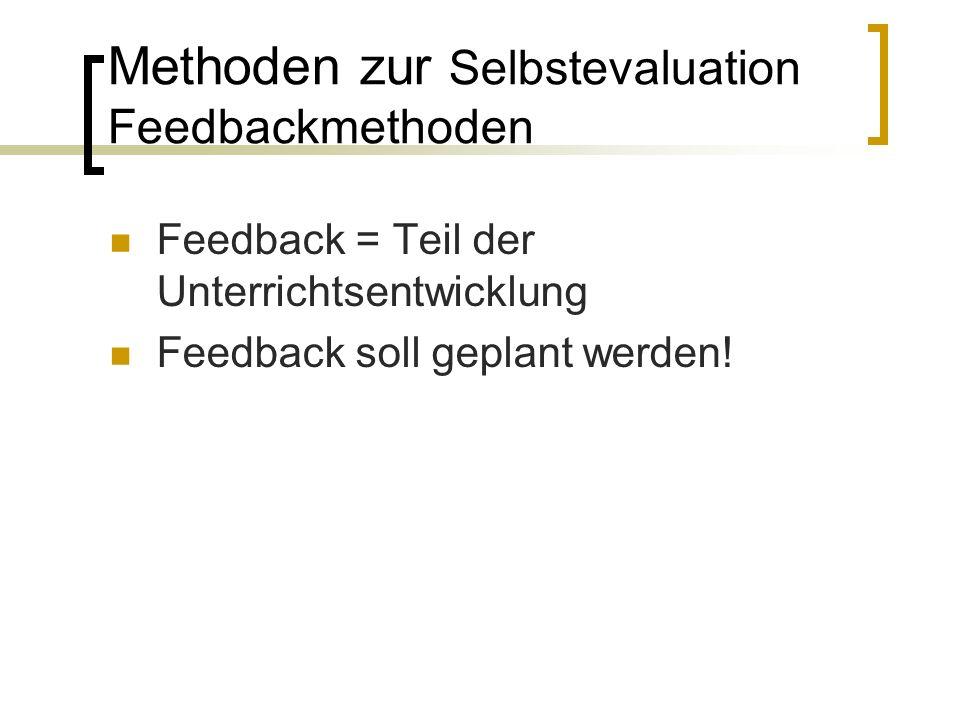 Methoden zur Selbstevaluation Feedbackmethoden Feedback = Teil der Unterrichtsentwicklung Feedback soll geplant werden!