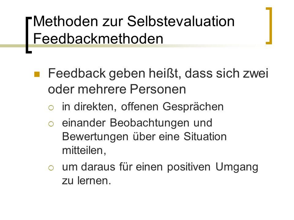 Feedback geben heißt, dass sich zwei oder mehrere Personen  in direkten, offenen Gesprächen  einander Beobachtungen und Bewertungen über eine Situation mitteilen,  um daraus für einen positiven Umgang zu lernen.