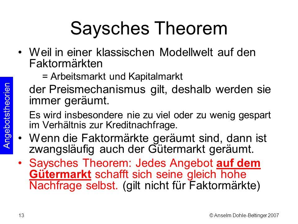 © Anselm Dohle-Beltinger 200713 Saysches Theorem Weil in einer klassischen Modellwelt auf den Faktormärkten = Arbeitsmarkt und Kapitalmarkt der Preismechanismus gilt, deshalb werden sie immer geräumt.