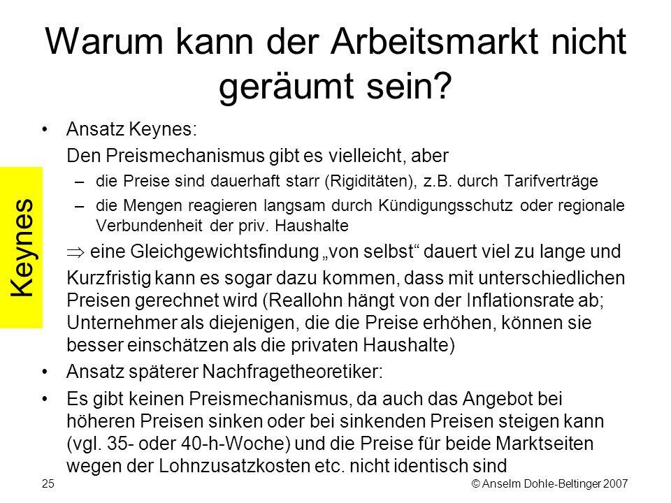 © Anselm Dohle-Beltinger 200725 Warum kann der Arbeitsmarkt nicht geräumt sein.
