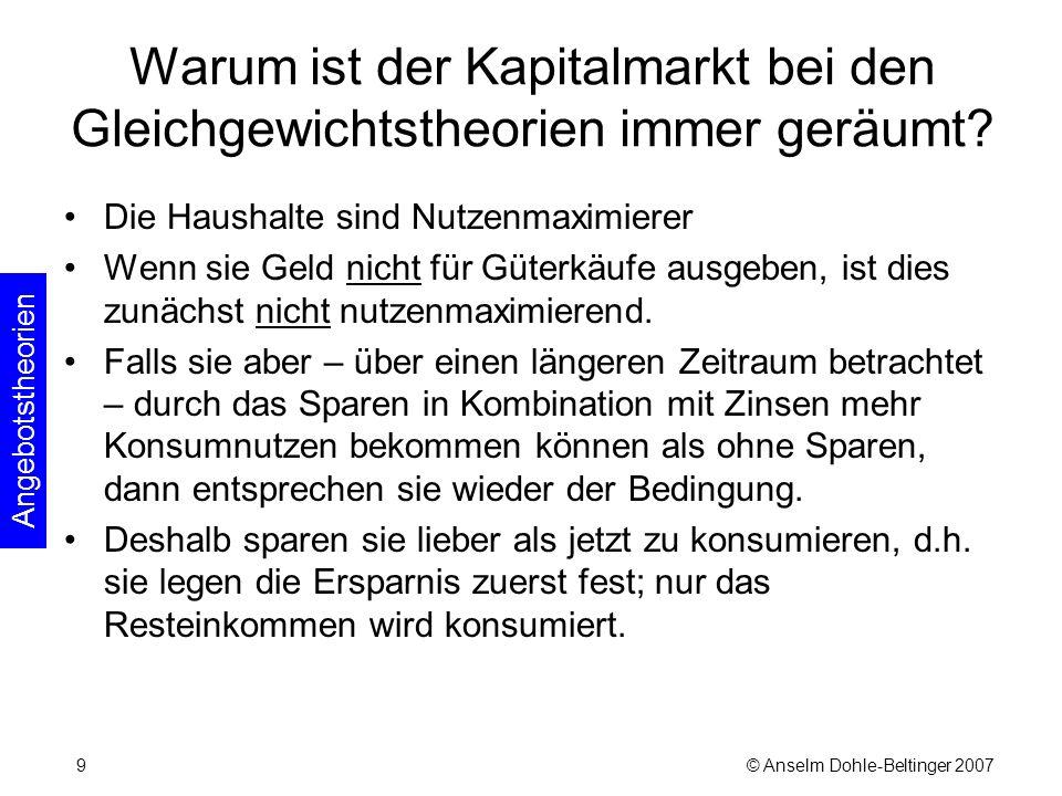 © Anselm Dohle-Beltinger 200710 Warum ist der Kapitalmarkt bei den Gleichgewichtstheorien immer geräumt.