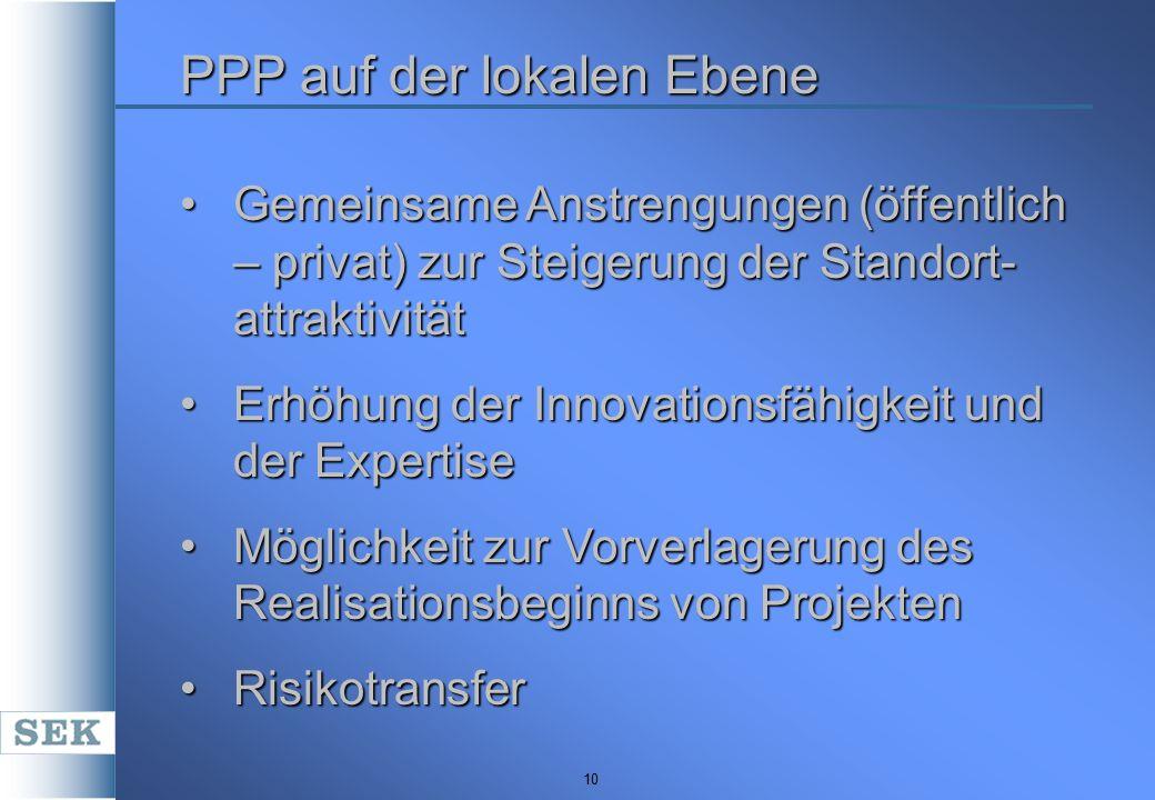10 PPP auf der lokalen Ebene Gemeinsame Anstrengungen (öffentlich – privat) zur Steigerung der Standort- attraktivitätGemeinsame Anstrengungen (öffent