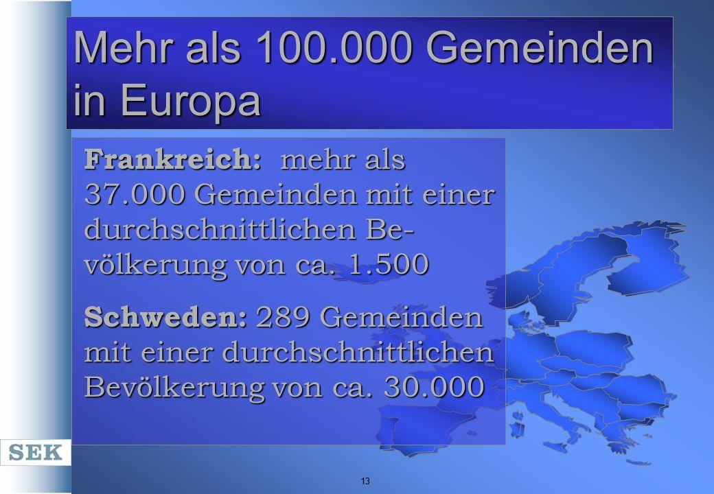 13 Mehr als 100.000 Gemeinden in Europa Frankreich: mehr als 37.000 Gemeinden mit einer durchschnittlichen Be- völkerung von ca. 1.500 Schweden: 289 G