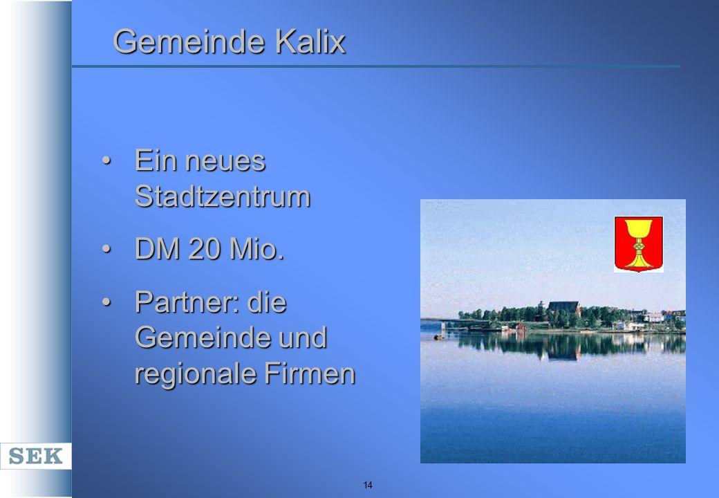 14 Gemeinde Kalix Ein neues StadtzentrumEin neues Stadtzentrum DM 20 Mio.DM 20 Mio. Partner: die Gemeinde und regionale FirmenPartner: die Gemeinde un