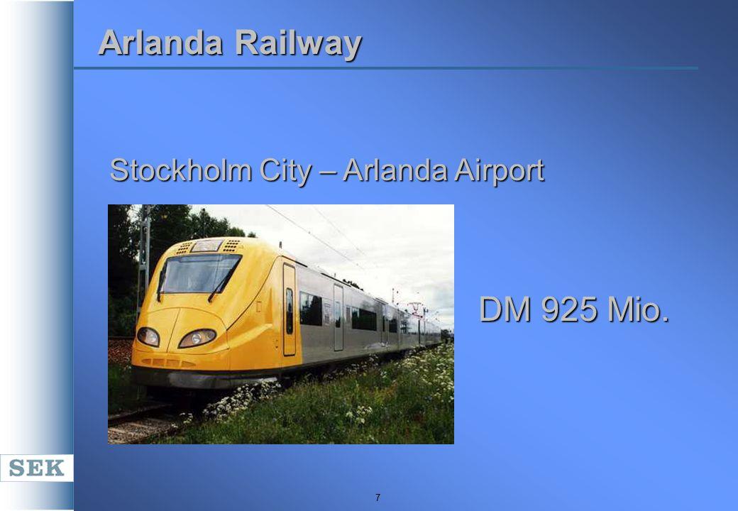 7 Arlanda Railway Stockholm City – Arlanda Airport DM 925 Mio.