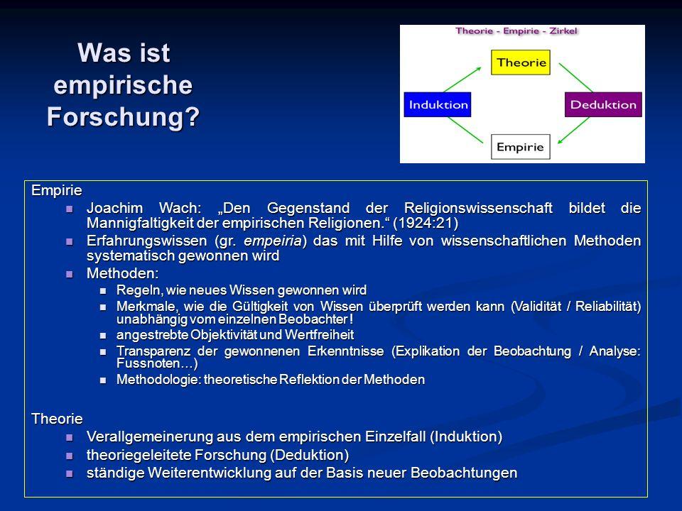 """Was ist empirische Forschung? Empirie Joachim Wach: """"Den Gegenstand der Religionswissenschaft bildet die Mannigfaltigkeit der empirischen Religionen."""""""