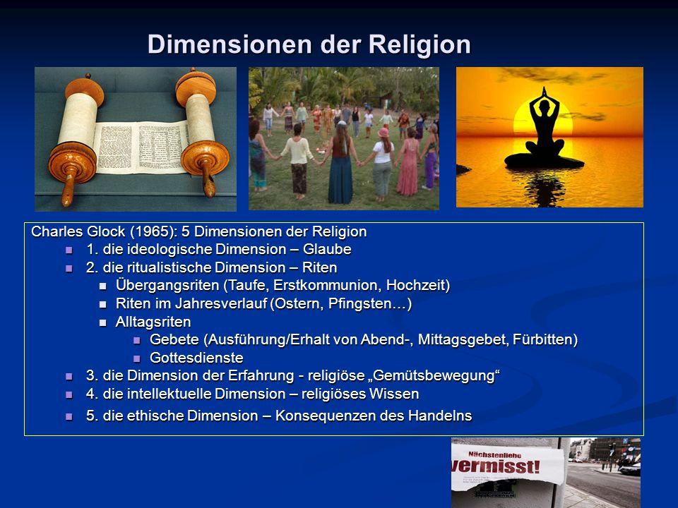 Dimensionen der Religion Charles Glock (1965): 5 Dimensionen der Religion 1. die ideologische Dimension – Glaube 1. die ideologische Dimension – Glaub