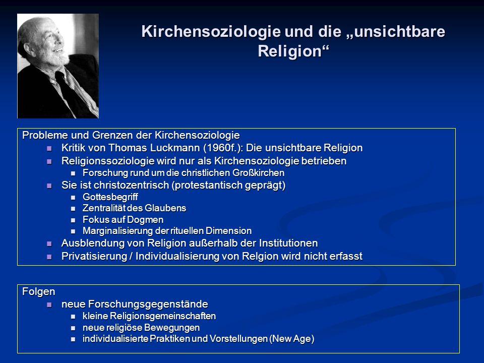 """Kirchensoziologie und die """"unsichtbare Religion"""" Folgen neue Forschungsgegenstände neue Forschungsgegenstände kleine Religionsgemeinschaften kleine Re"""