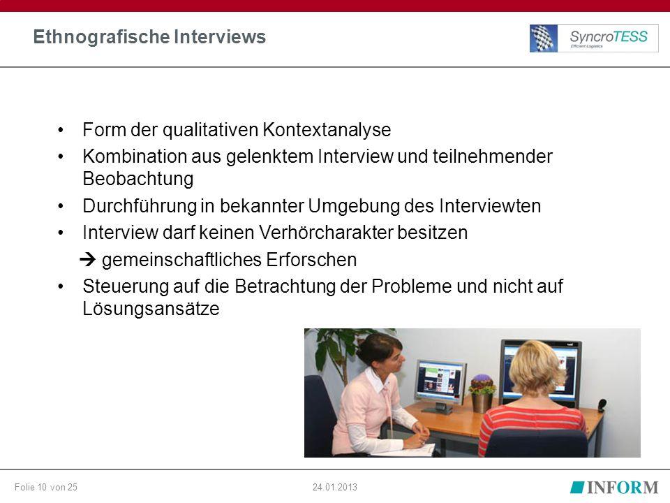 Folie 10 von 2524.01.2013 Ethnografische Interviews Form der qualitativen Kontextanalyse Kombination aus gelenktem Interview und teilnehmender Beobach