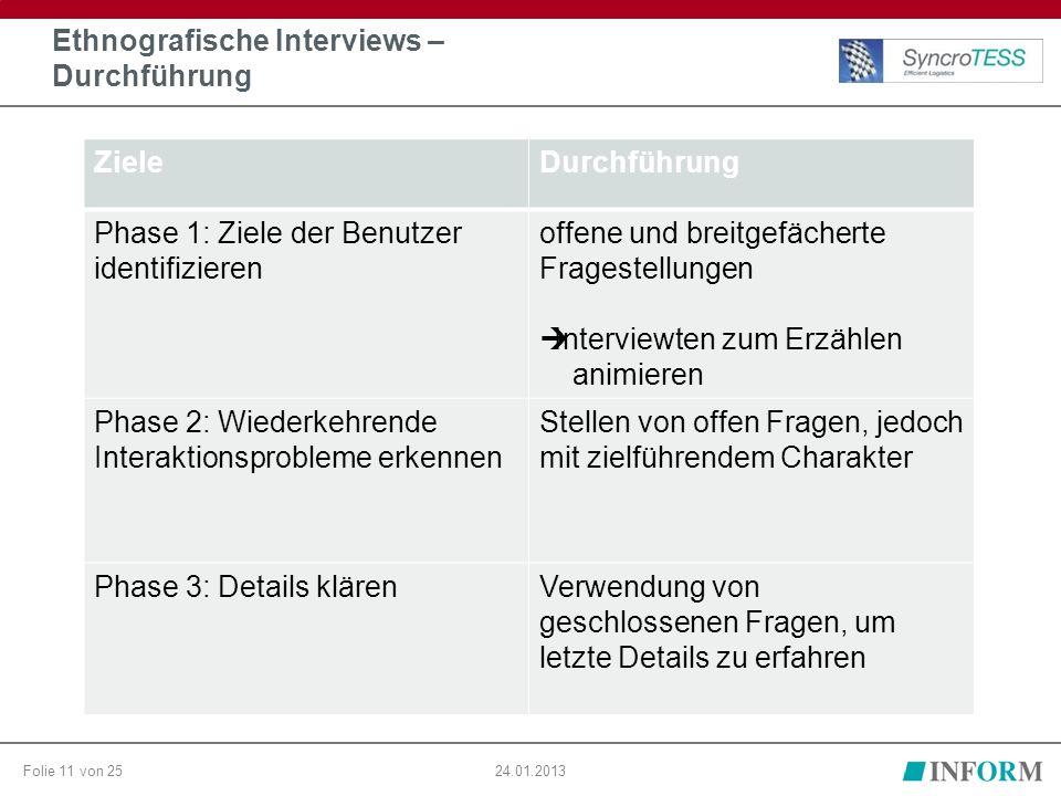 Folie 11 von 2524.01.2013 Ethnografische Interviews – Durchführung ZieleDurchführung Phase 1: Ziele der Benutzer identifizieren offene und breitgefäch