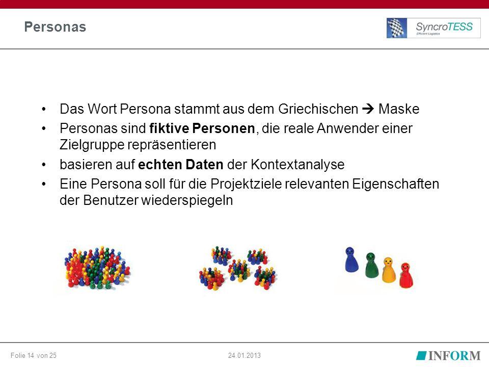 Folie 14 von 2524.01.2013 Personas Das Wort Persona stammt aus dem Griechischen  Maske Personas sind fiktive Personen, die reale Anwender einer Zielgruppe repräsentieren basieren auf echten Daten der Kontextanalyse Eine Persona soll für die Projektziele relevanten Eigenschaften der Benutzer wiederspiegeln