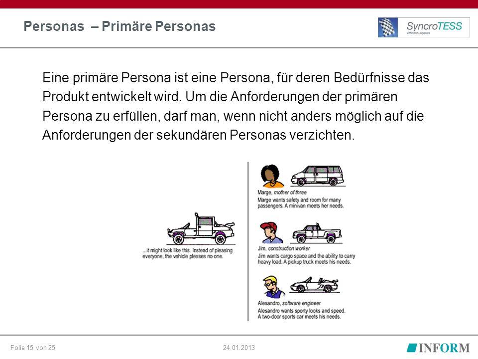 Folie 15 von 2524.01.2013 Personas – Primäre Personas Eine primäre Persona ist eine Persona, für deren Bedürfnisse das Produkt entwickelt wird. Um die