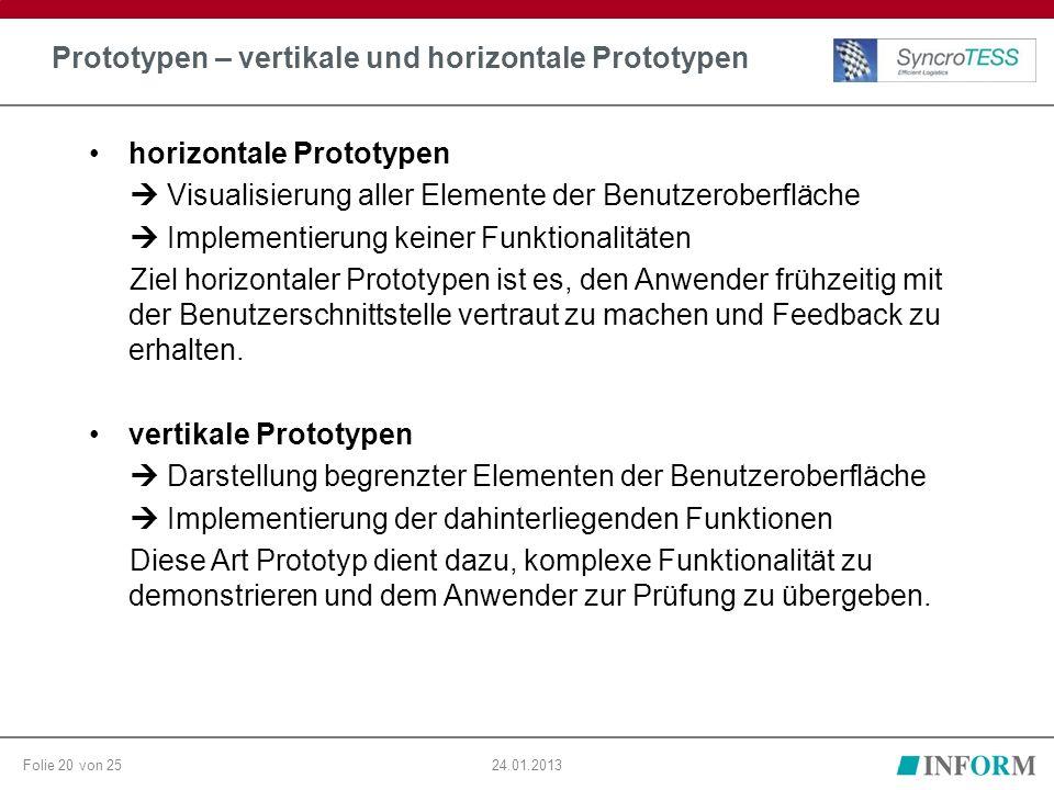 Folie 20 von 2524.01.2013 Prototypen – vertikale und horizontale Prototypen horizontale Prototypen  Visualisierung aller Elemente der Benutzeroberflä