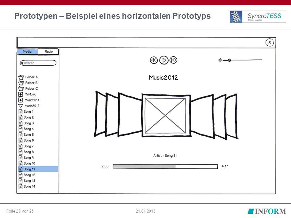 Folie 23 von 2524.01.2013 Prototypen – Beispiel eines horizontalen Prototyps