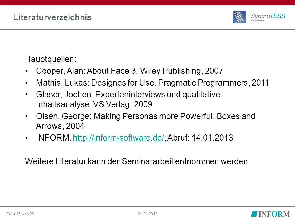Folie 25 von 25 Literaturverzeichnis 24.01.2013 Hauptquellen: Cooper, Alan: About Face 3. Wiley Publishing, 2007 Mathis, Lukas: Designes for Use. Prag