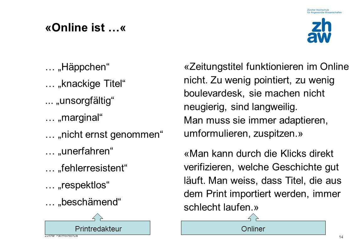 """Zürcher Fachhochschule «Online ist …« … """"Häppchen"""" … """"knackige Titel""""... """"unsorgfältig"""" … """"marginal"""" … """"nicht ernst genommen"""" … """"unerfahren"""" … """"fehler"""