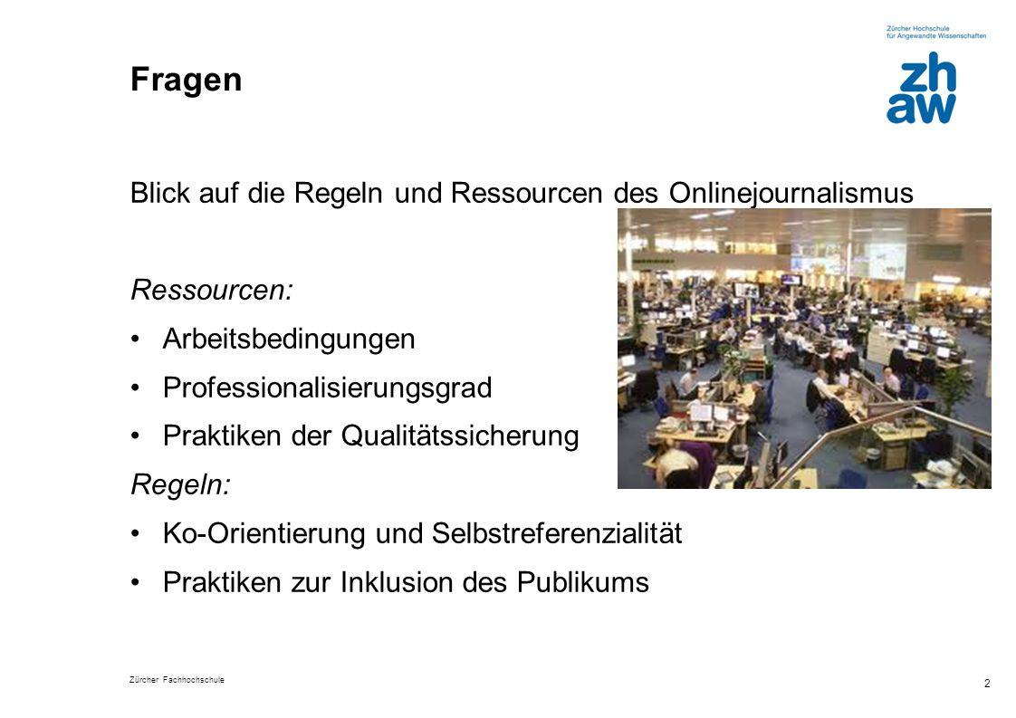 Zürcher Fachhochschule 2 Fragen Blick auf die Regeln und Ressourcen des Onlinejournalismus Ressourcen: Arbeitsbedingungen Professionalisierungsgrad Pr