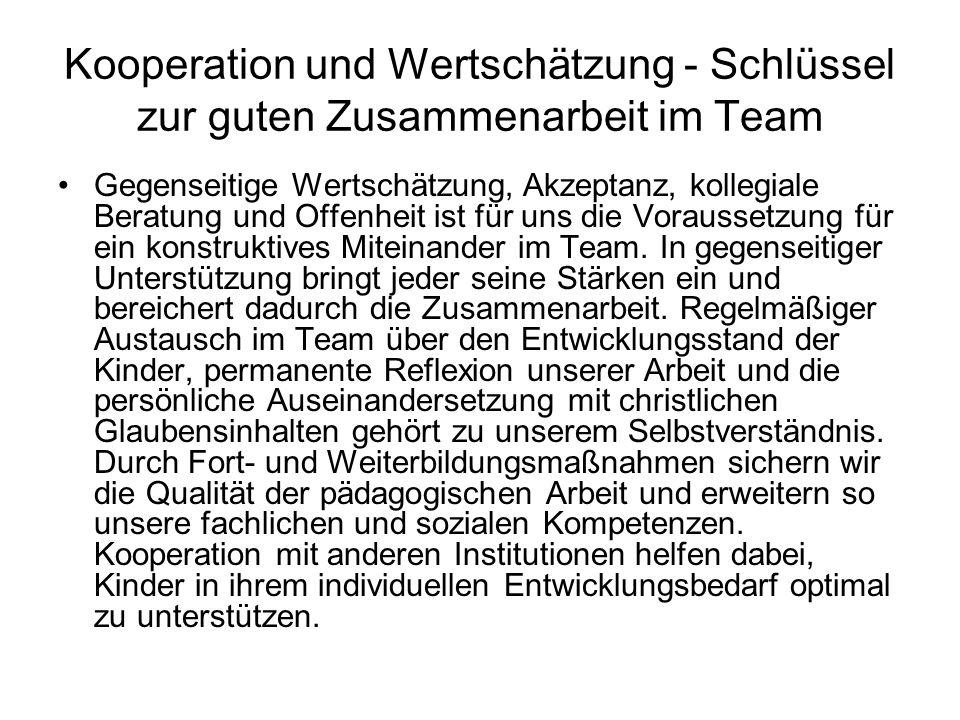 Kooperation und Wertschätzung - Schlüssel zur guten Zusammenarbeit im Team Gegenseitige Wertschätzung, Akzeptanz, kollegiale Beratung und Offenheit ist für uns die Voraussetzung für ein konstruktives Miteinander im Team.