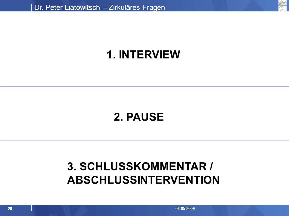 Dr.Peter Liatowitsch – Zirkuläres Fragen 2004.05.20092004.05.2009 1.