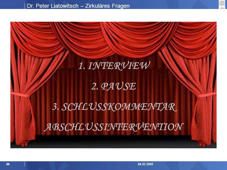 Dr.Peter Liatowitsch – Zirkuläres Fragen 2404.05.20092404.05.2009 1.
