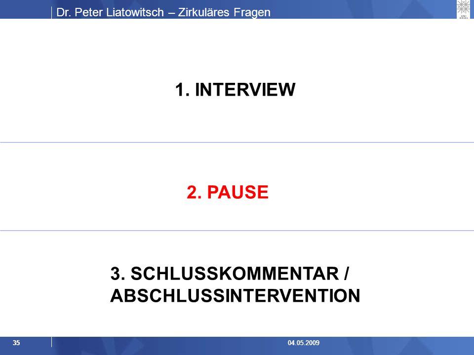 Dr.Peter Liatowitsch – Zirkuläres Fragen 3504.05.20093504.05.2009 1.