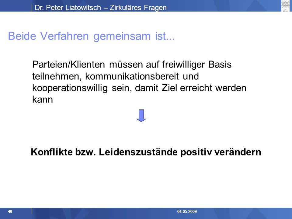 Dr.Peter Liatowitsch – Zirkuläres Fragen 4004.05.2009 Beide Verfahren gemeinsam ist...