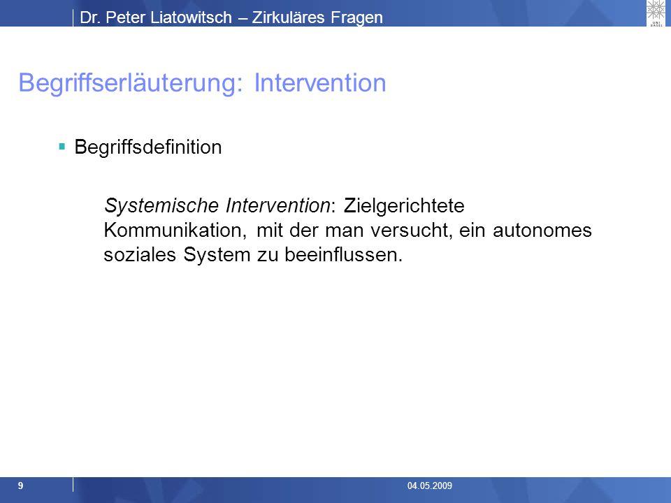 Dr.Peter Liatowitsch – Zirkuläres Fragen 1004.05.2009 Intervention oder Konversation.