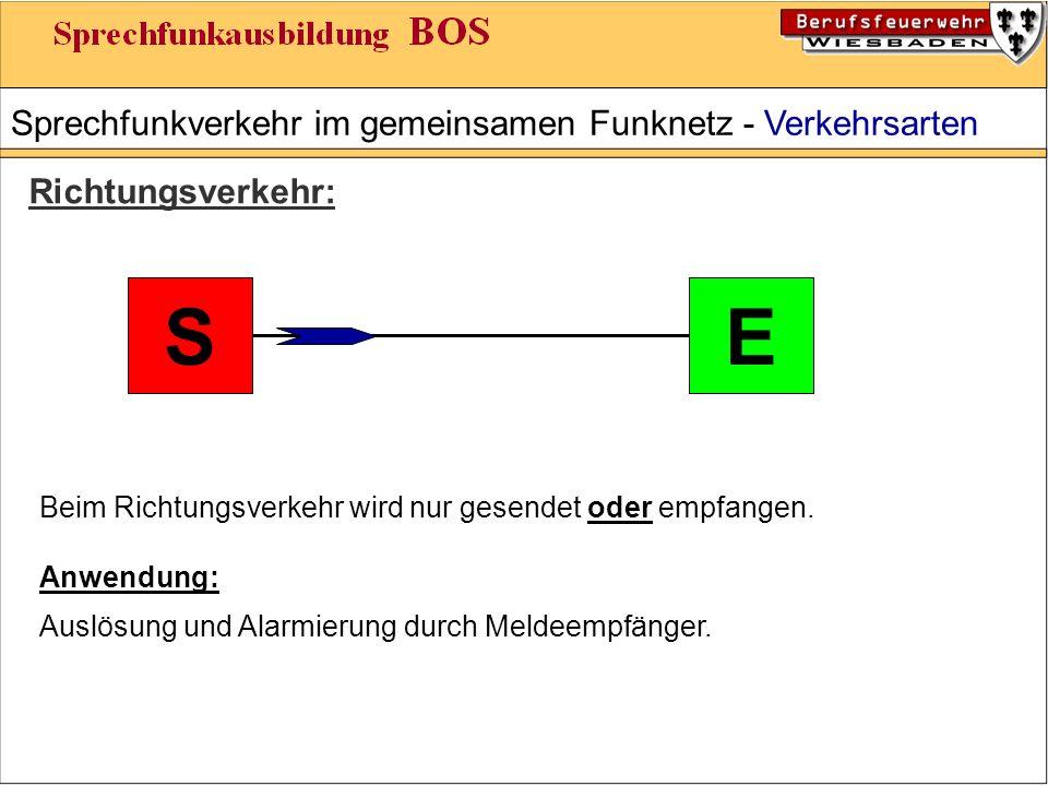 Sprechfunkverkehr im gemeinsamen Funknetz - Verkehrsarten Richtungsverkehr: ES Beim Richtungsverkehr wird nur gesendet oder empfangen.